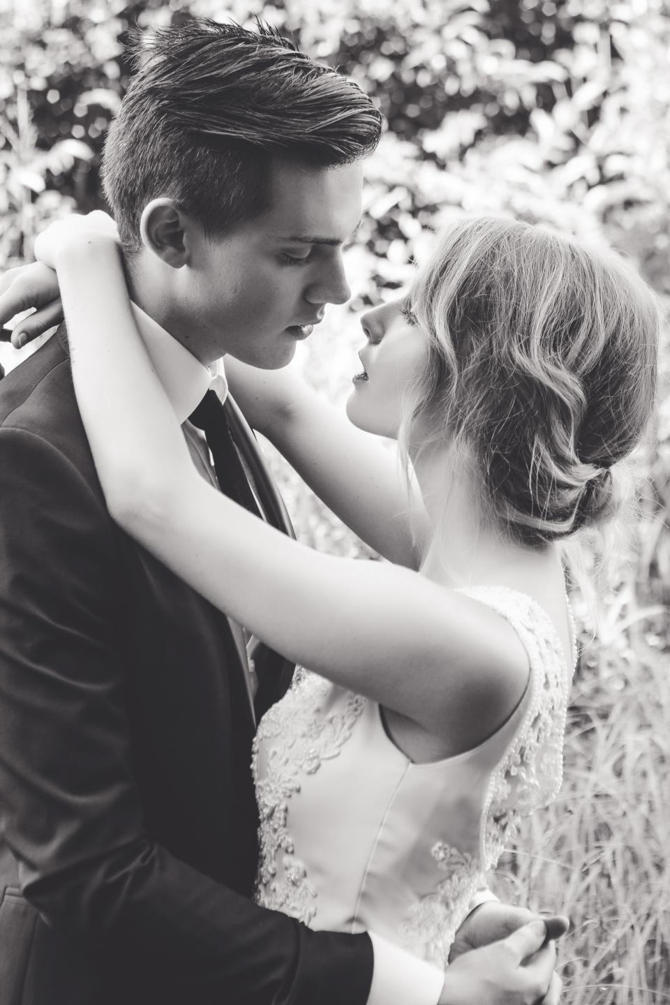 people, man, girl, bride, groom, wedding, celebration, gown, holding hands, kiss, love, black and white