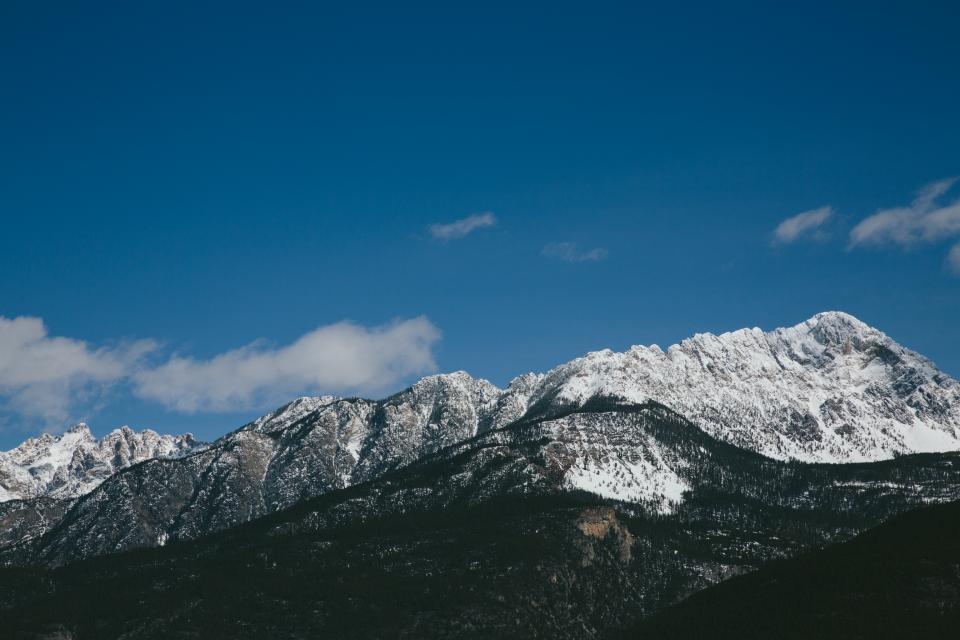 blue, sky, clouds, view, mountains, cliffs, hills, snow, cold, winter, trees, outdoors, hike, trek