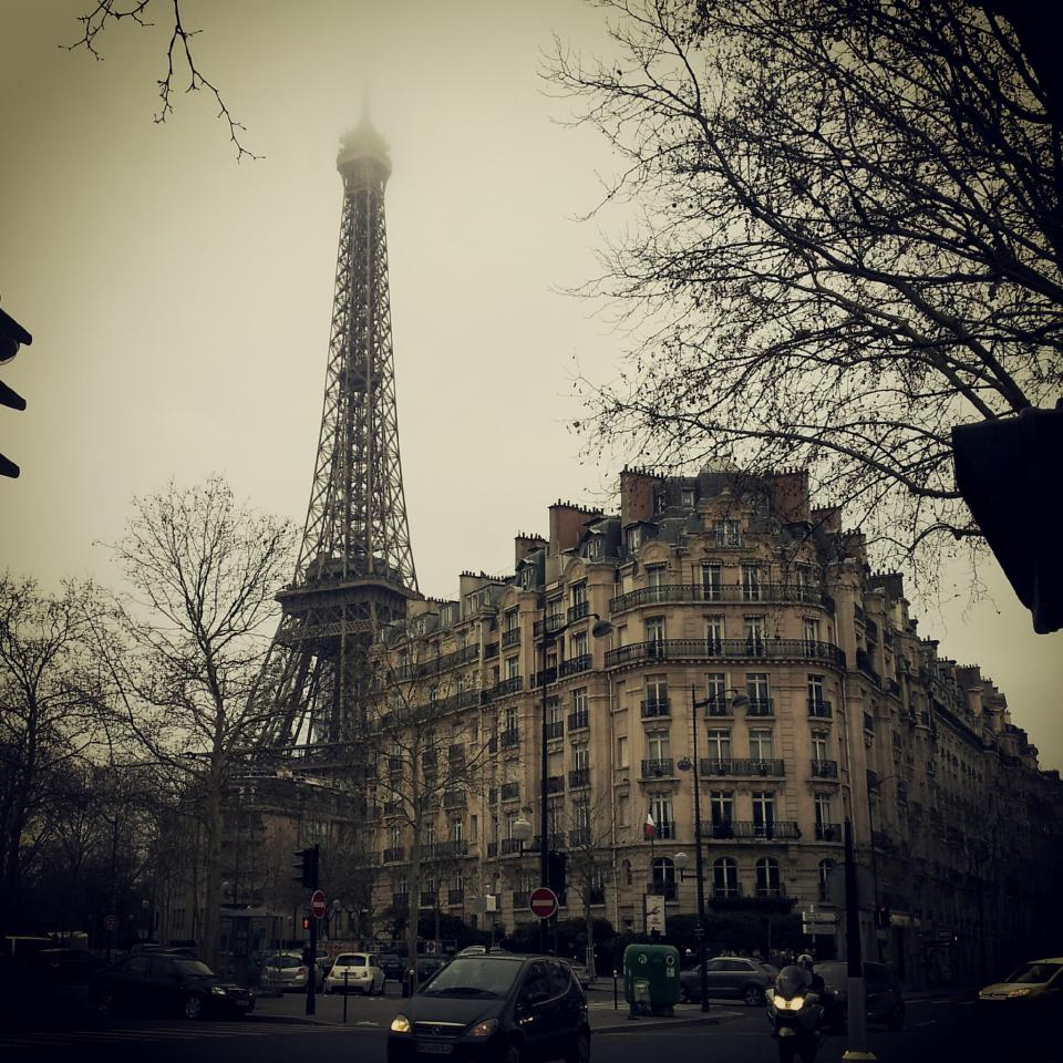 eiffel tower, buildings, paris, france, city, europe, cars, road, street, trees, motorbike, architecture
