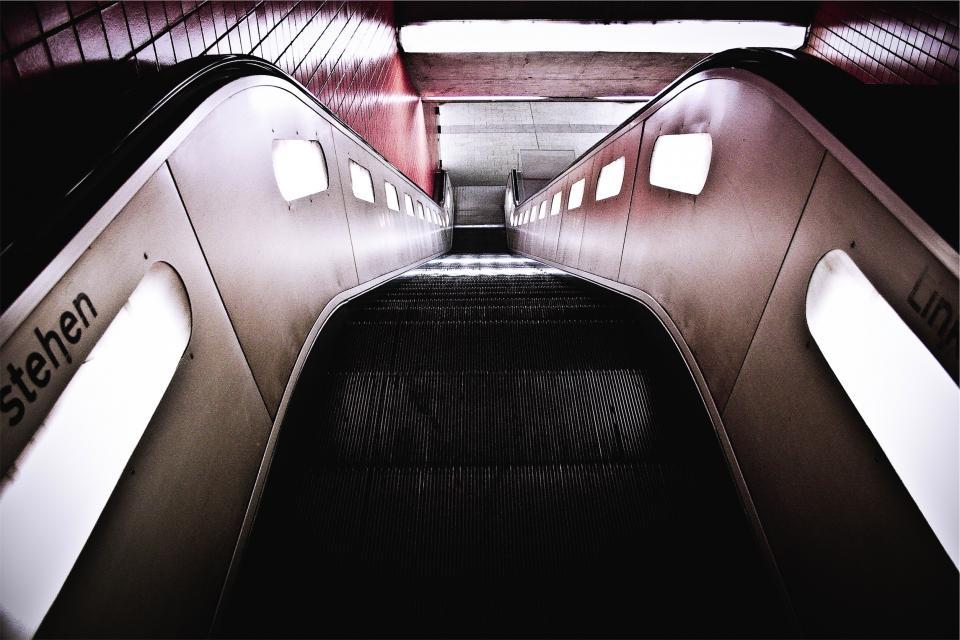 escalator, subway station