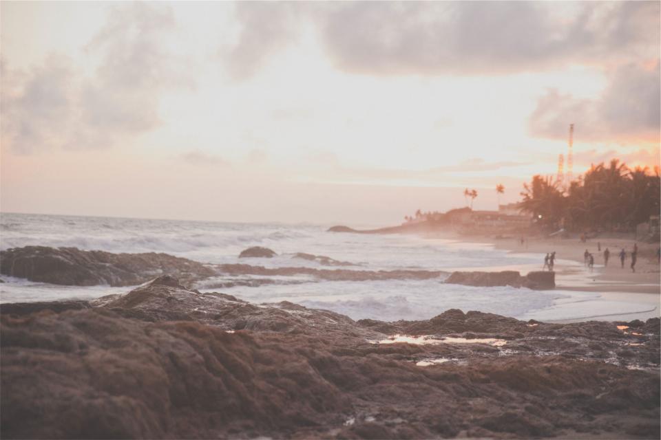 sunset, beach, sand, shore, waves, ocean, sea, rocks