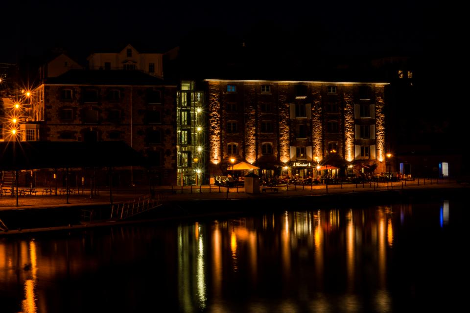 building, restaurant, patio, lake, water, night, dark, lights