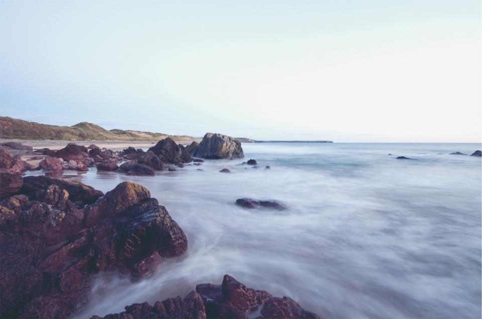beach, sand, rocks, boulders, water, ocean, sea, shore, coast