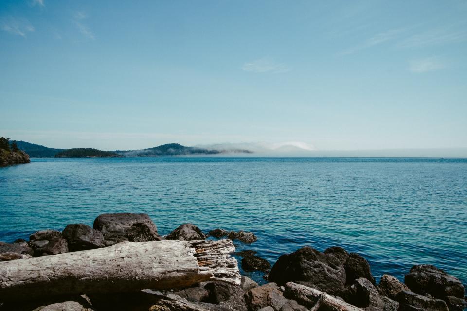 sky, blue, water, clear, islands, rocks, branch