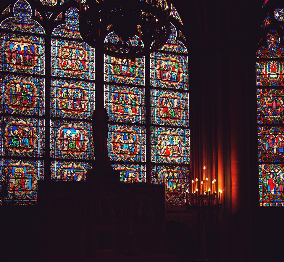 Notre Dame Cathedral, Paris, France, stained glass windows, candles, dark, religion, catholic