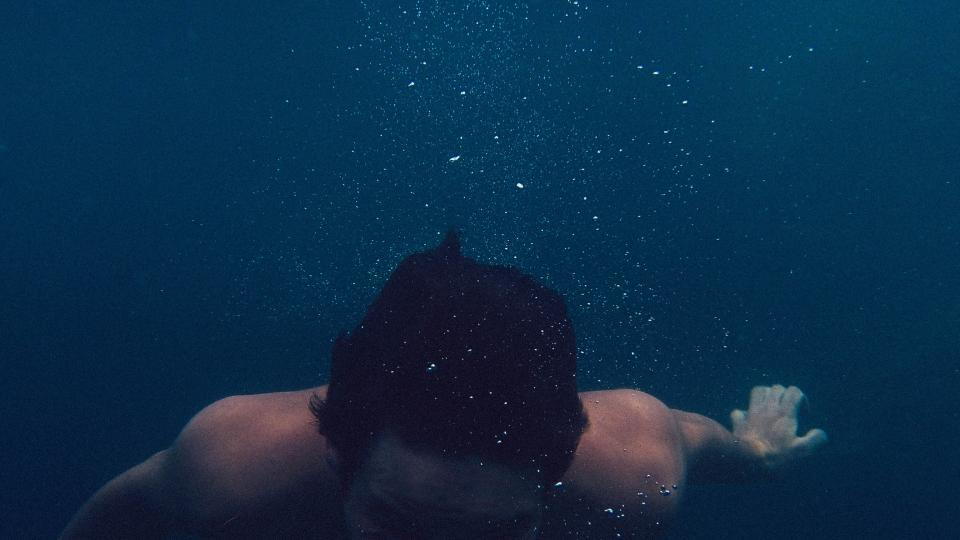 swimming, underwater, man, guy, hair, bubbles, wet