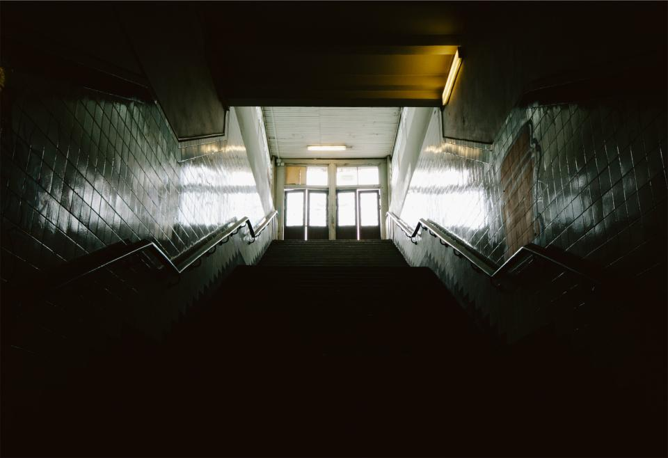 stairwell, stairway, stairs, steps, walls, tiles, railing, banister, doors, exit, entrance, school