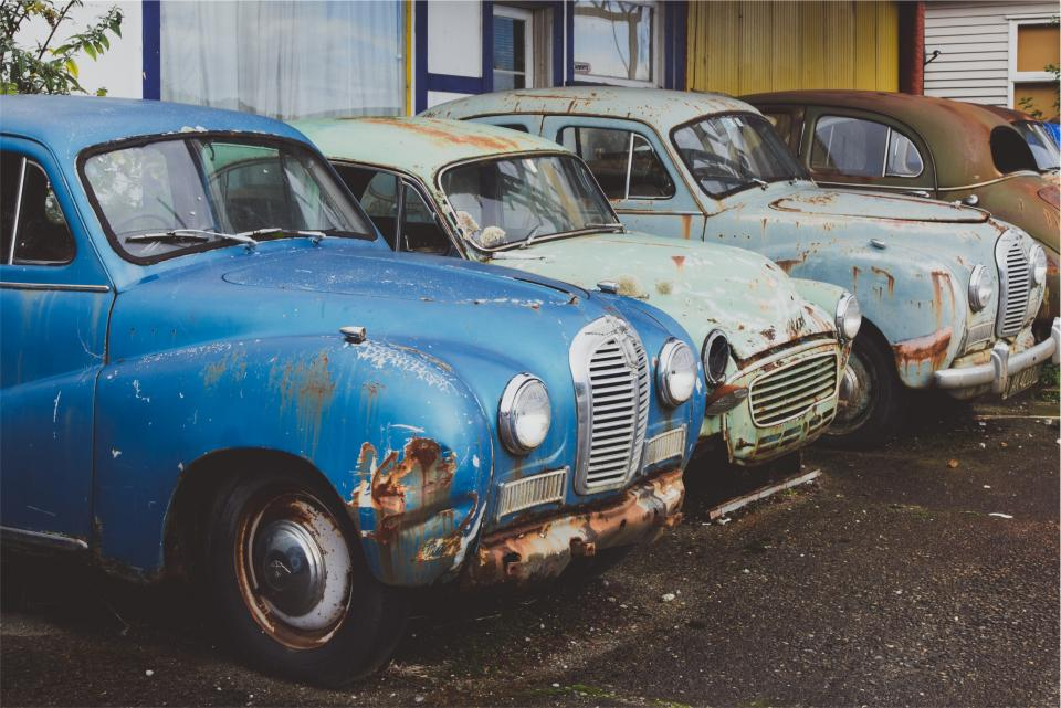 cars, old, vintage, classic, rust, parking