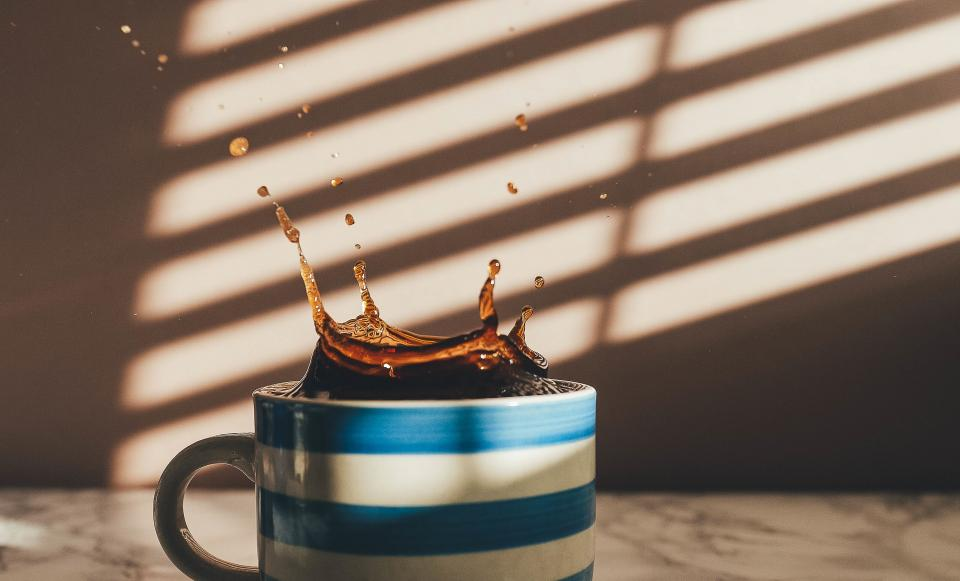 coffee, cup, mug, splash, drops, sunlight