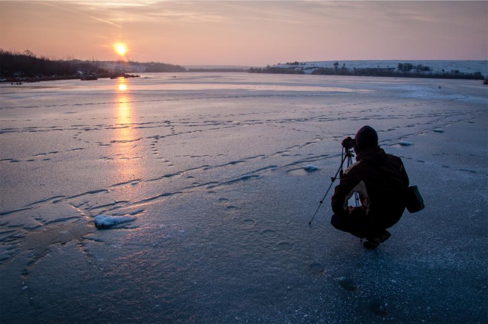 photographer, photography, sunset, camera, winter, freezing, frozen, ice, cold, people