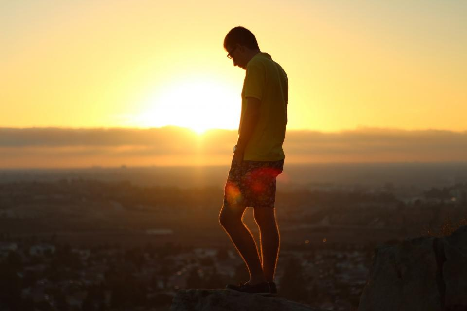 sunset, dusk, guy, man, people, shorts, polo shirt, shoes, sky, aerial, view