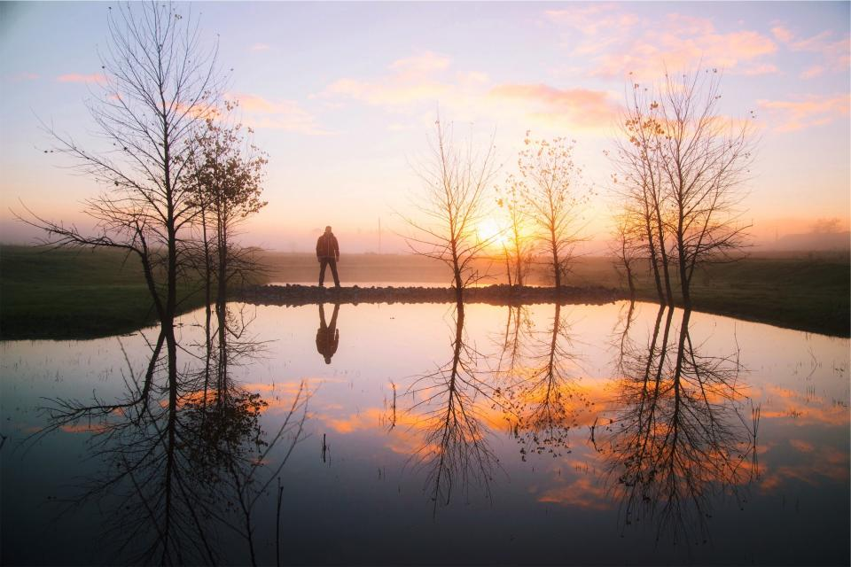 sunset, water, reflection, trees, pond, guy, man, jacket, fog, rural, clouds