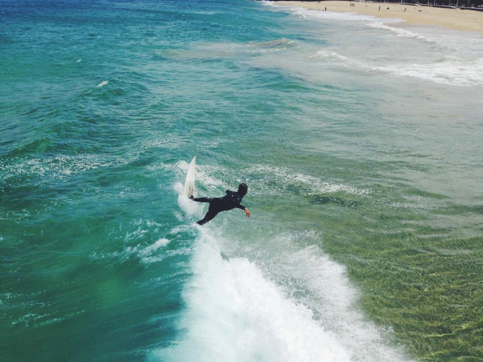 surfing, surfer, surfboard, waves, ocean, sea, water, splash, beach, sand, wetsuit, sports, fitness, guy, people