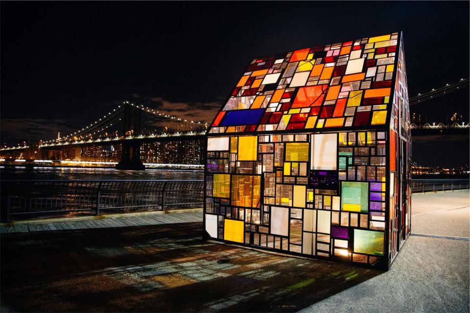 stained glass windows, city, urban, bridge, lights, night, evening, New York, NYC