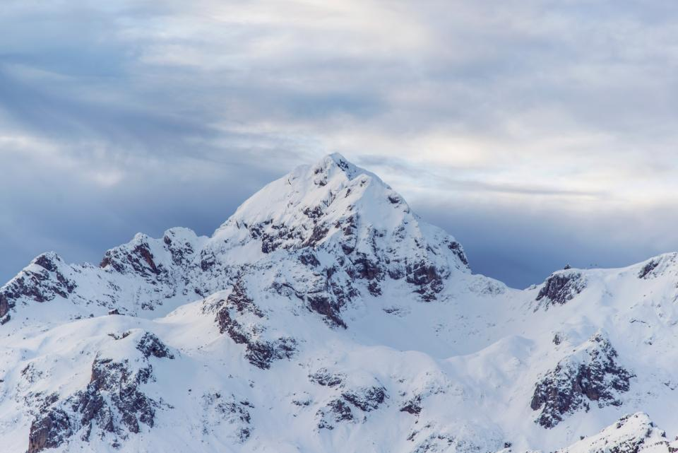 mountains, peaks, summit, snow, sky, clouds, cliffs, rocks, outdoors, landscape, nature