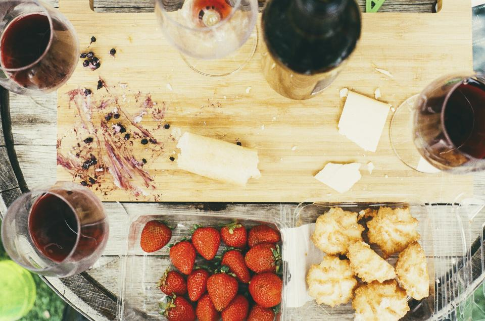 wine, glass, cheese, cutting board, fruits, strawberries, cookies, berries, food, drink