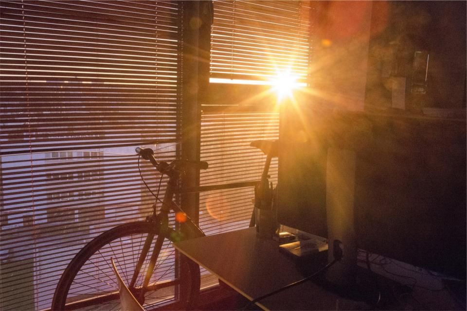 sunlight, window, blinds, bike, bicycle, room, sunrise