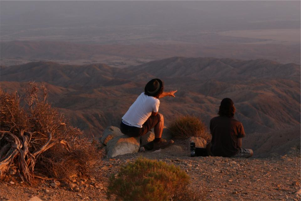 hills, desert, people, pointing