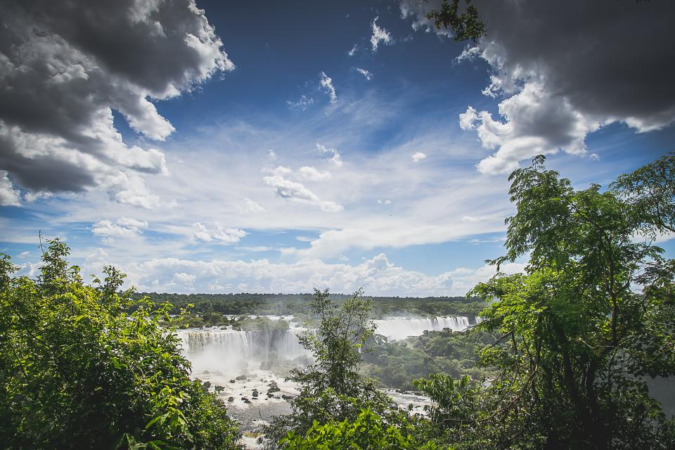 Iguazu Falls, waterfalls, landscape, river, trees, sky, clouds, nature