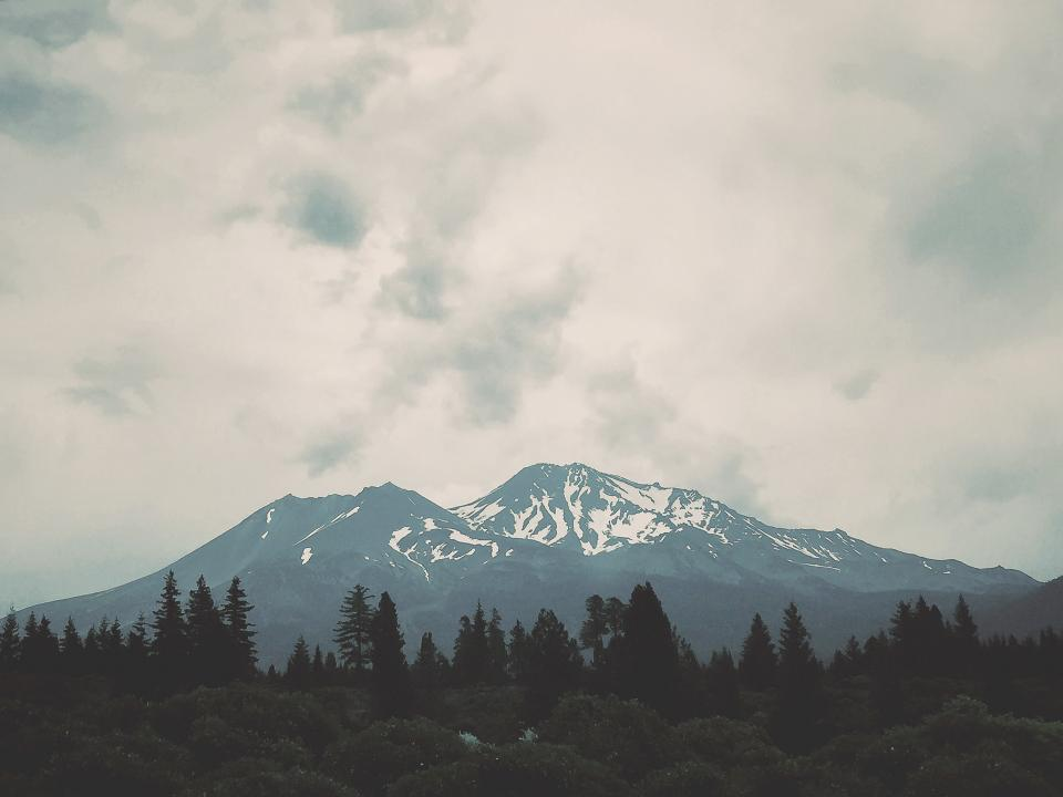 landscape, mountains, nature, trees, forest, woods, sky, clouds, cloudy, peak, snow, summit