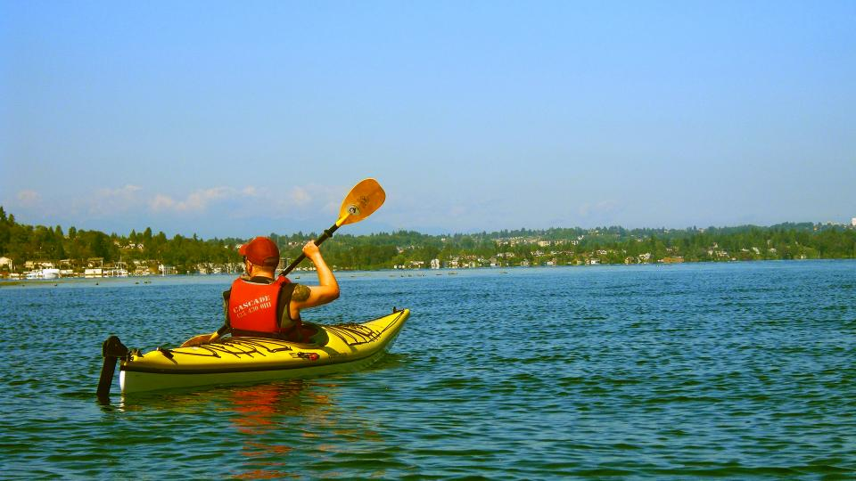 kayak, lake, water, sunshine, summer, outdoors, sports, fun, fitness, guy, man, paddle, blue, sky