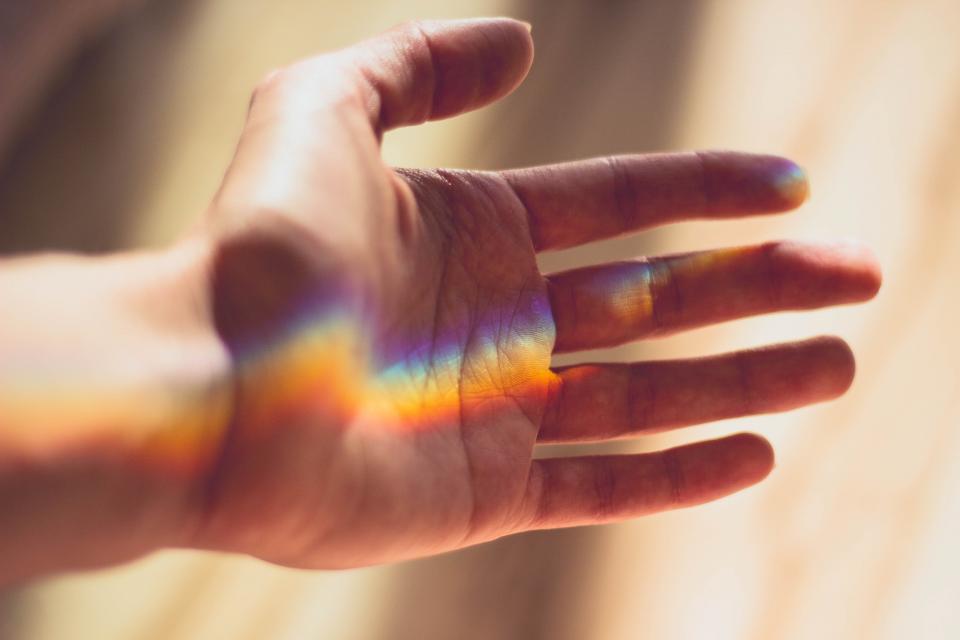 hand, light, sunlight, rainbow