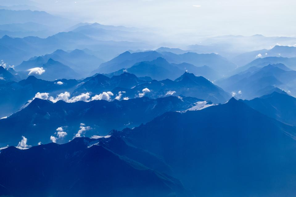 nature, mountains, summit, peaks, fog, clouds, sky, clouds, gradient, blue, white, majestic