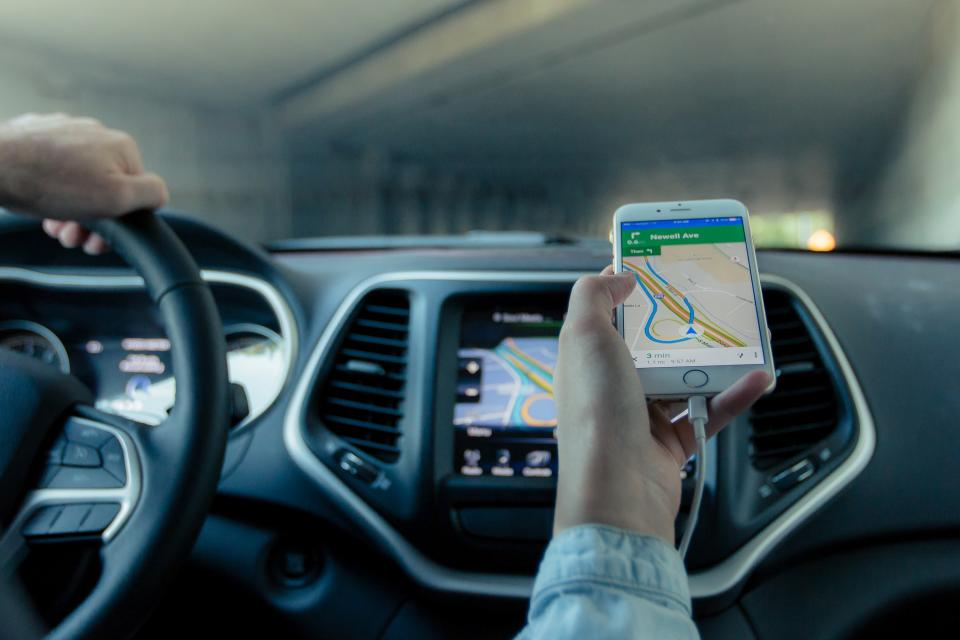 GPS, navigation, map, car, interior, smartphone, mobile, dashboard, gauges, tunnel, driving, automotive