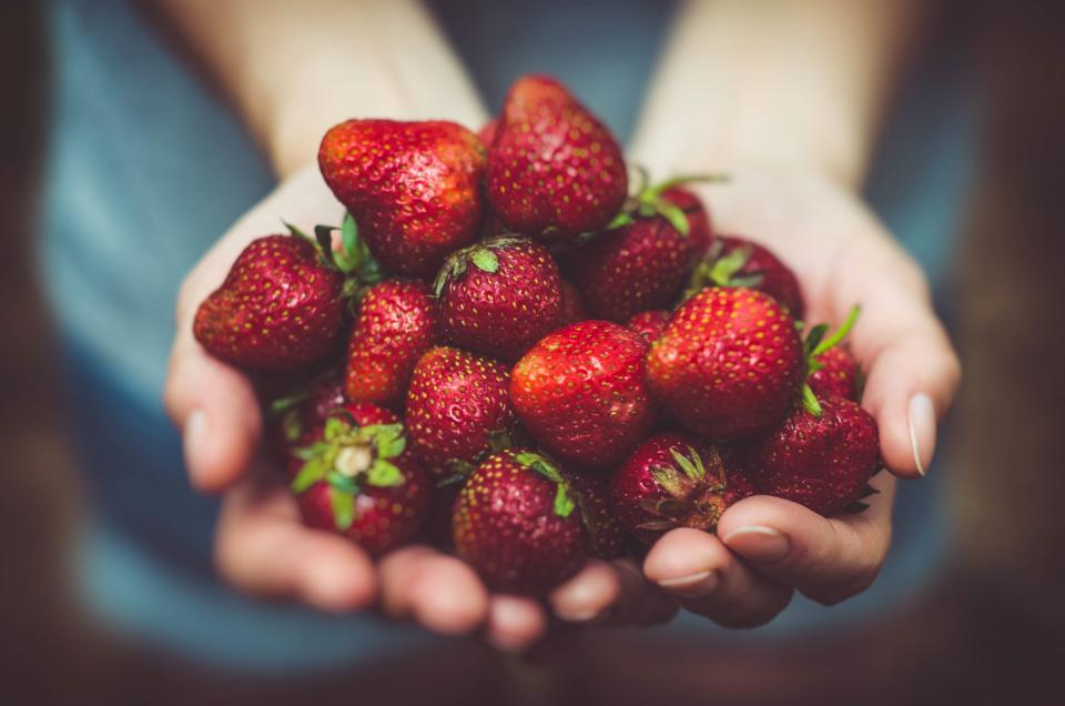 food, eat, fruits, strawberries, woman, girl, people, hands, picked, bokeh, red