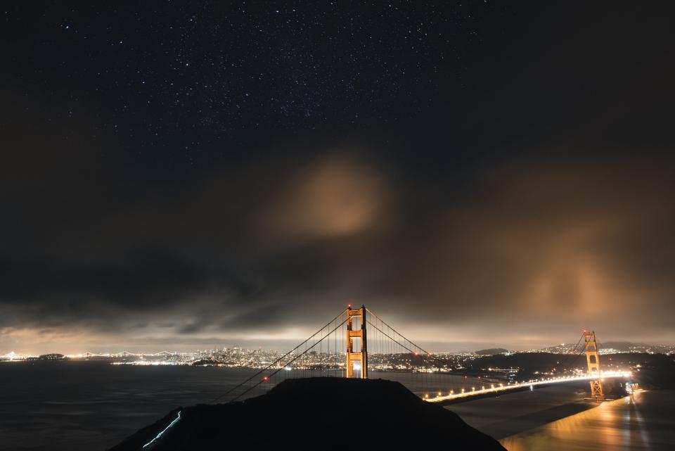 Golden Gate Bridge, San Francisco, architecture, night, dark, evening, sky, clouds, lights, city