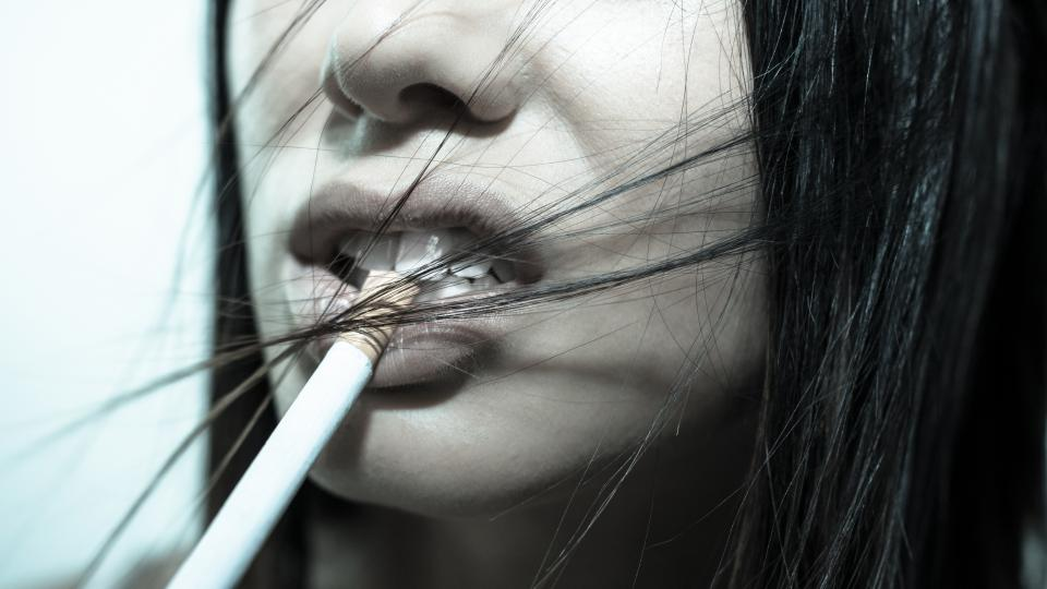cigarette, girl, woman, face, lips, teeth, mouth, hair, people