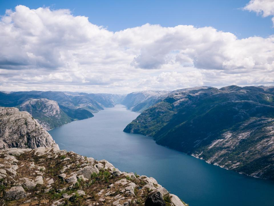 blue, sky, clouds, mountains, hills, cliffs, rocks, lake, water, outdoors, nature, nature