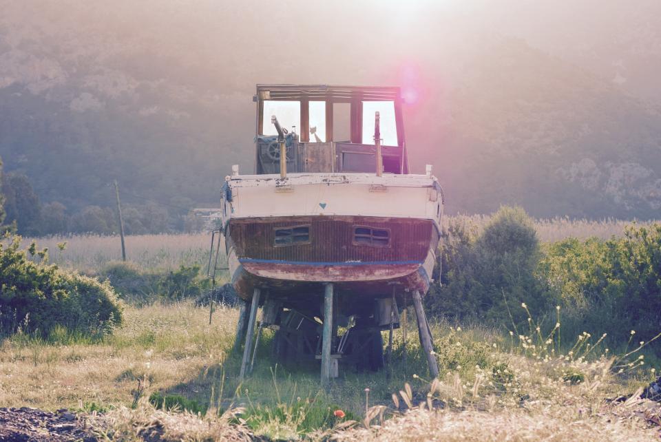 boat, sunset, maintenance, landscape, grass, nature