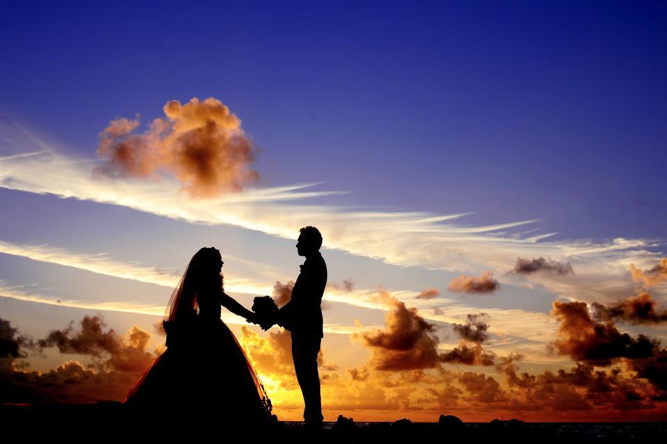 Maldives, sunset, wedding, bride, tropical, island, atoll, beach, lagoon, sea, groom, bouquet, couple, bridal, silhouette, sky, clouds, dusk