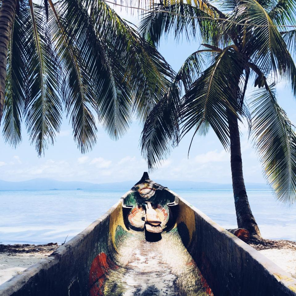 palm trees, tropical, island, beach, sand, boat, vacation, travel, blue, sky, clouds, ocean, sea, water, paradise