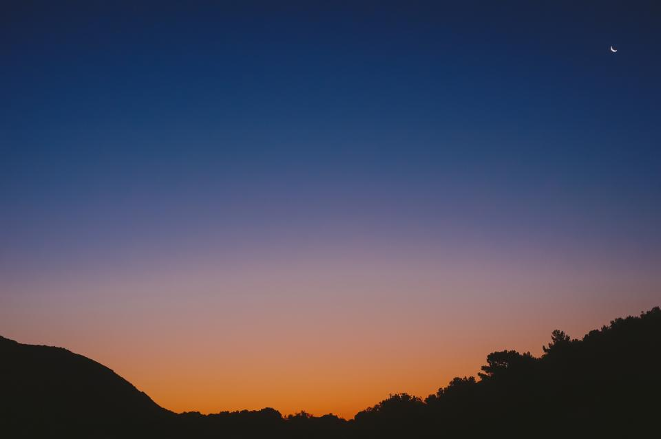 blue, orange, sky, sunset, moon, silhouette, mountains, trees
