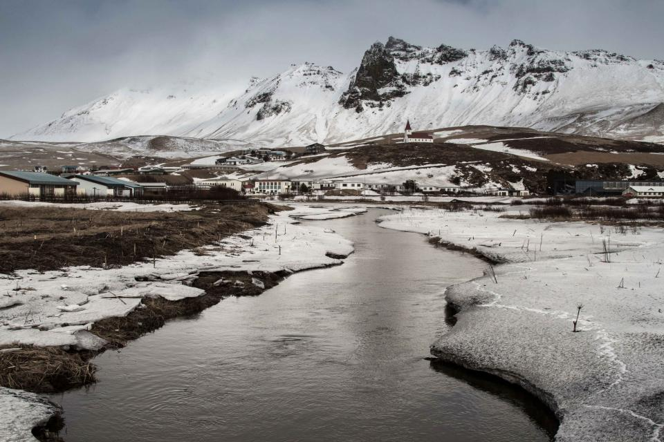 river, water, ice, snow, winter, cold, mountains, peaks, city, town, landscape