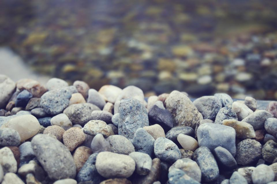 rocks, pebbles, beach, clear water, blue filter, blur, rocks