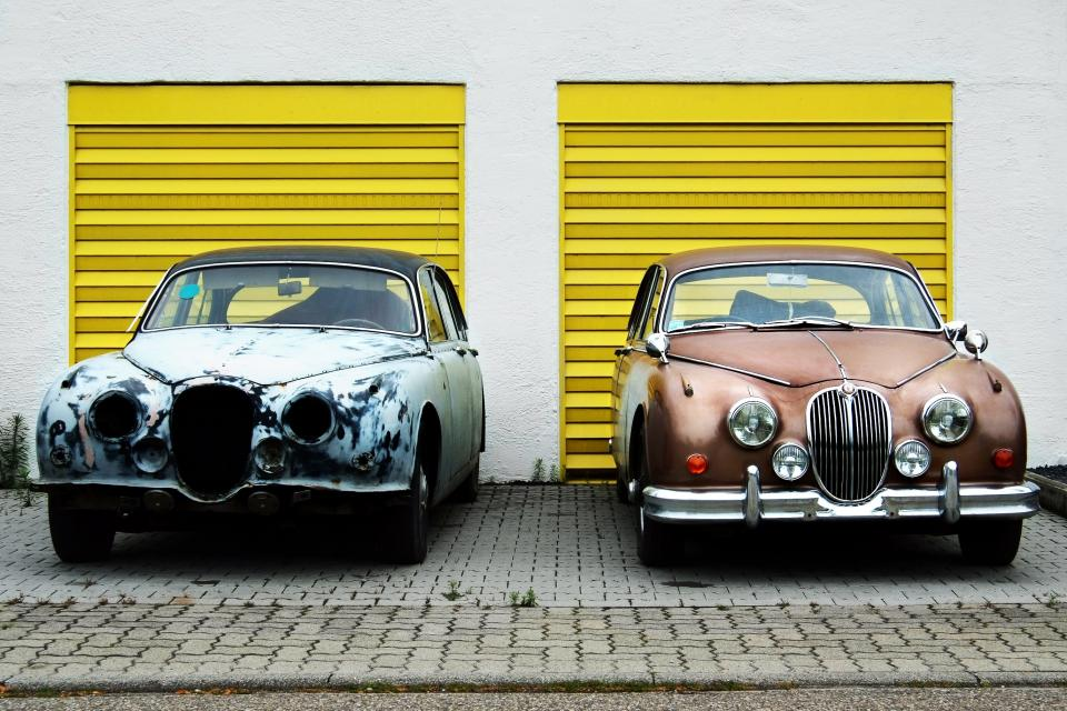 yellow, garage, white, driveway, cars, vintage, classic, headlights