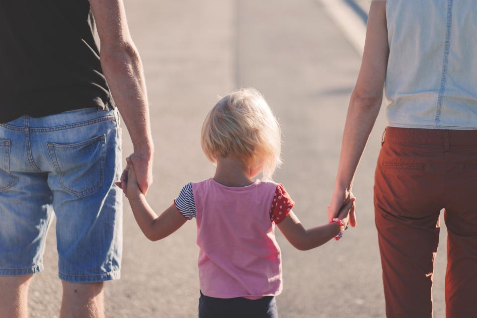 young, girl, daughter, kid, child, mom, mother, dad, father, family, people, holding hands, outdoors, sunshine, summer
