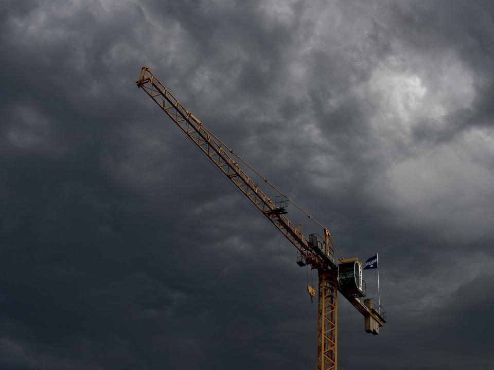 crane, construction, industrial, sky, storm, clouds, cloudy