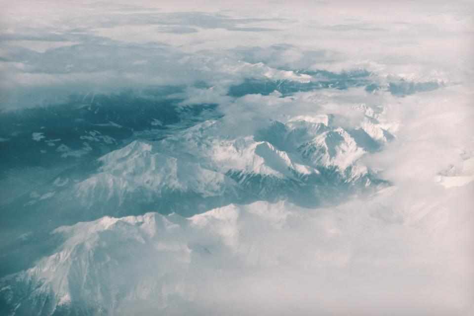 above the clouds, sky, mountains, peaks, summit, snow, nature, landscape