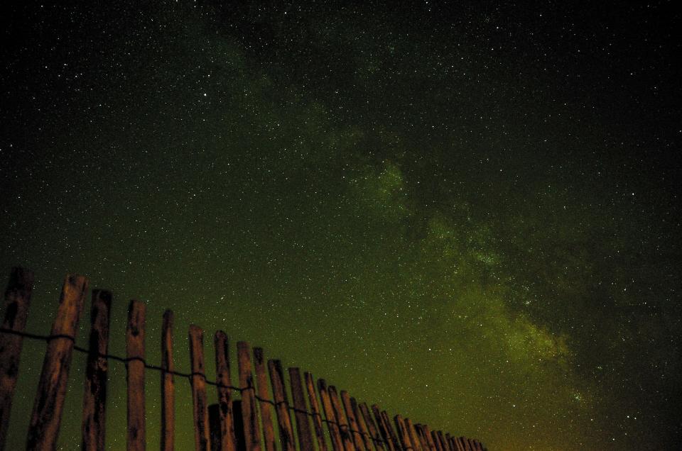 dark, sky, stars, twilight, wood, fence, night