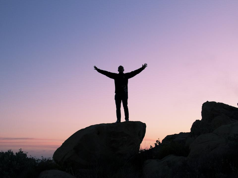 sunset, dusk, sky, purple, silhouette, man, guy, rocks, standing