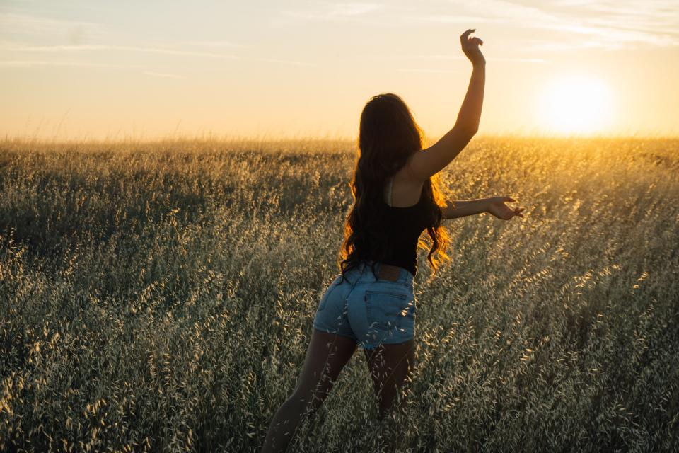 sunset, girl, woman, long hair, people, field, plants, nature, outdoors, adventure, rural, countryside, shadow, sky