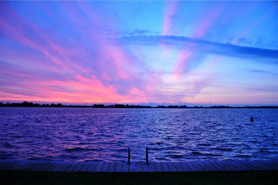 purple, sunset, dusk, sky, pink, lake, water, dock, clouds