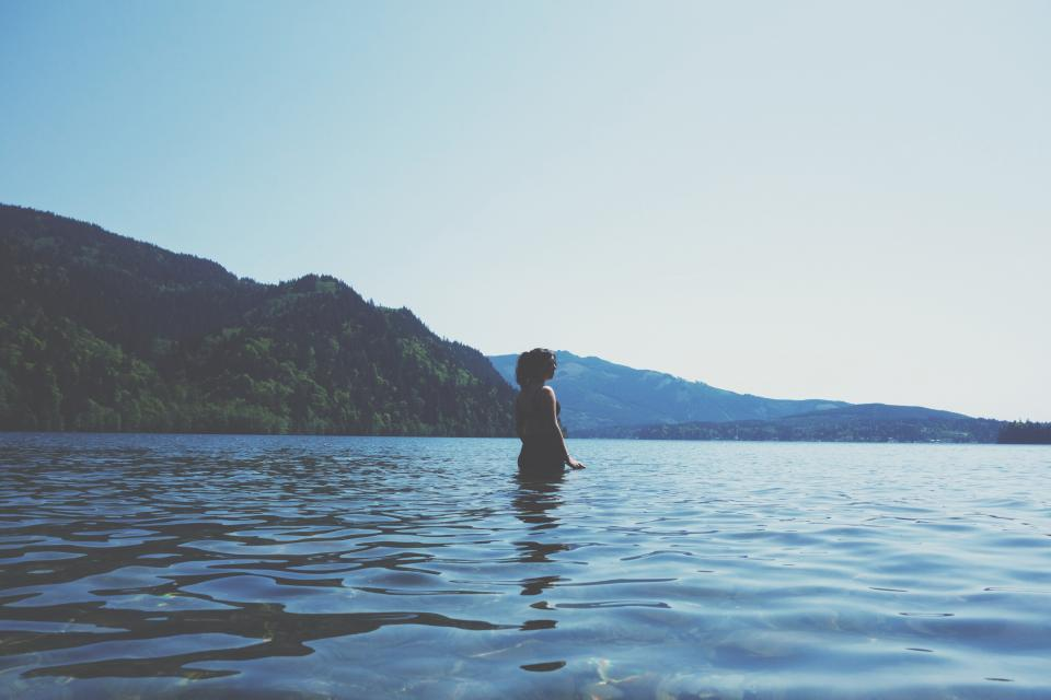 girl, woman, lake, water, mountains, landscape, nature, outdoors, people, blue, sky