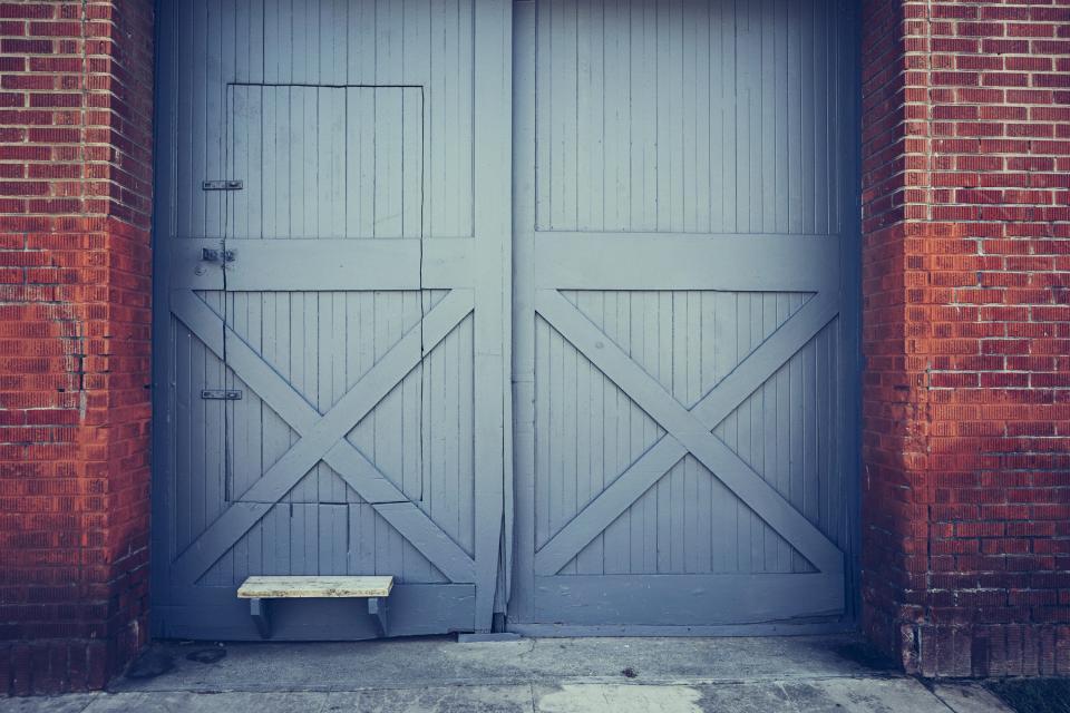 gate, door, step, red, bricks
