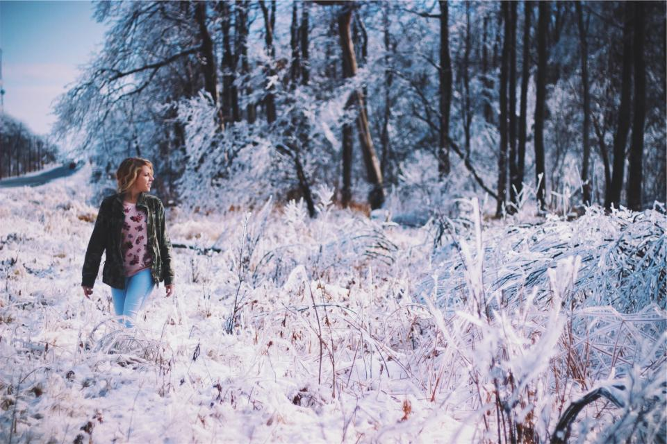 young, woman, girl, jacket, jeans, denim, winter, cold, snow, ice, frozen, freezing, trees, forest, woods, nature, rural, road, people