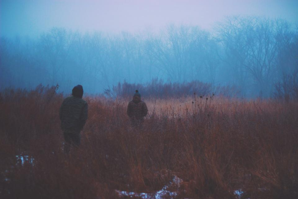 dark, fog, winter, cold, snow, coats, jackets, people, woods, trees, outdoors, haze, toque, bushes
